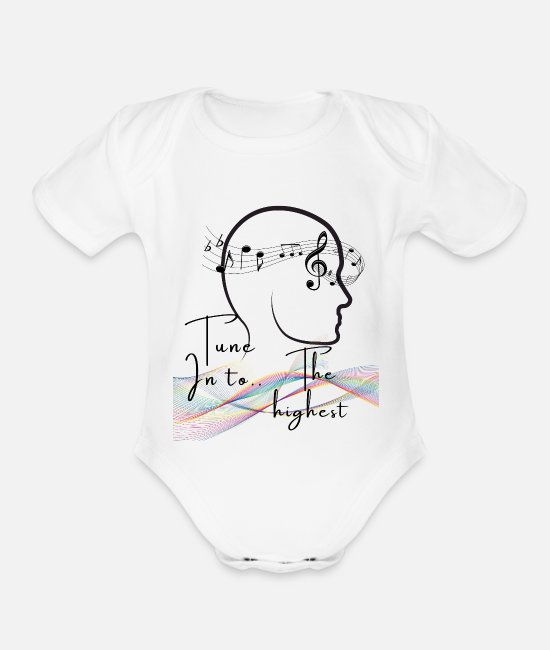 High Baby One Pieces - Tune into the highest - Organic Short-Sleeved Baby Bodysuit white