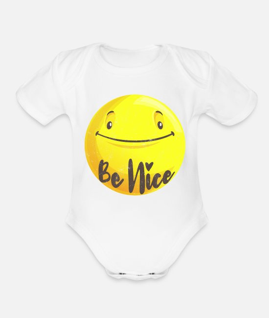 Grow Baby One Pieces - Be nice - Organic Short-Sleeved Baby Bodysuit white