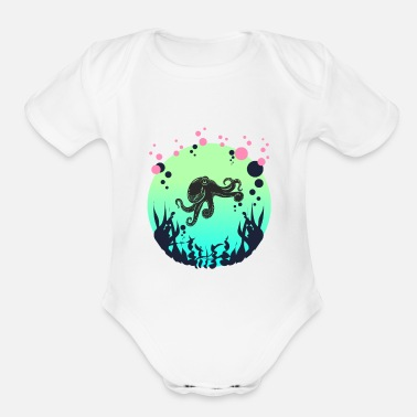 Octopus Diver Divers Tshirt deep sea octopus diver gift - Organic Short-Sleeved Baby Bodysuit