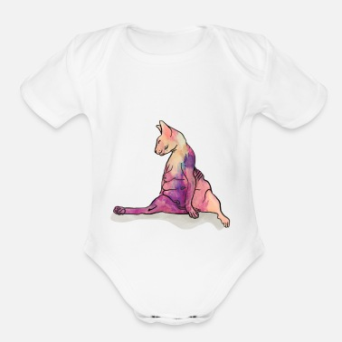 Sphinx Is there a draft in here - Sphynx Cat Art - Hairle - Organic Short-Sleeved Baby Bodysuit