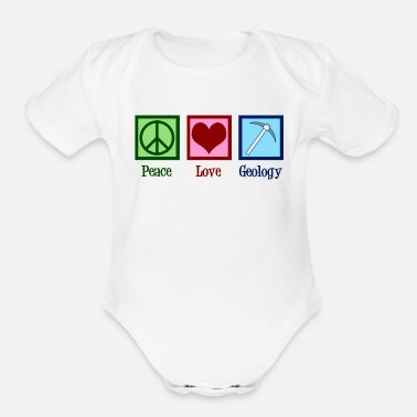 Peace Peace Love Geology - Organic Short-Sleeved Baby Bodysuit