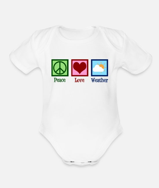 Weather Baby One Pieces - Peace Love Weather - Organic Short-Sleeved Baby Bodysuit white