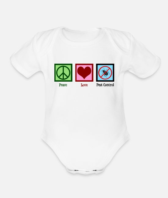 Extermination Baby One Pieces - Peace Love Pest Control - Organic Short-Sleeved Baby Bodysuit white