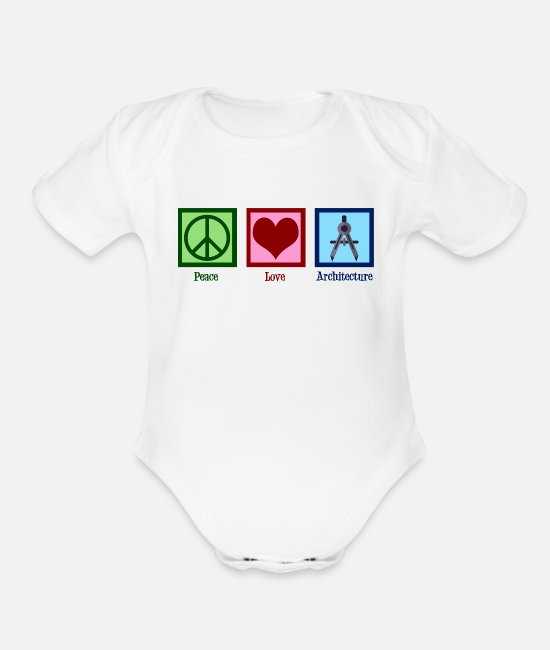 Building Baby One Pieces - Peace Love Architecture - Organic Short-Sleeved Baby Bodysuit white