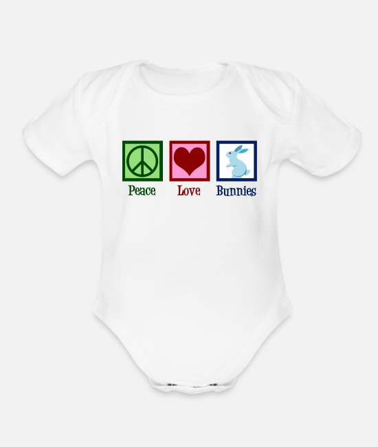 Easter Baby One Pieces - Peace Love Bunnies - Organic Short-Sleeved Baby Bodysuit white