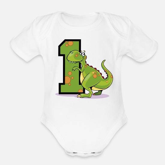 Birthday Baby Clothing - Dinosaur 1st Birthday - Organic Short-Sleeved Baby Bodysuit white