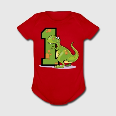 Dinosaur 1st Birthday - Short Sleeve Baby Bodysuit