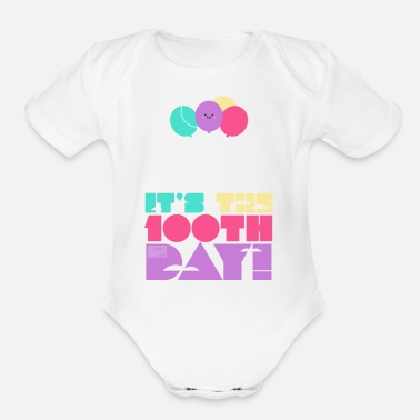 Cute Colorful Up and Away Balloon 100 Days of Scho - Organic Short-Sleeved Baby Bodysuit