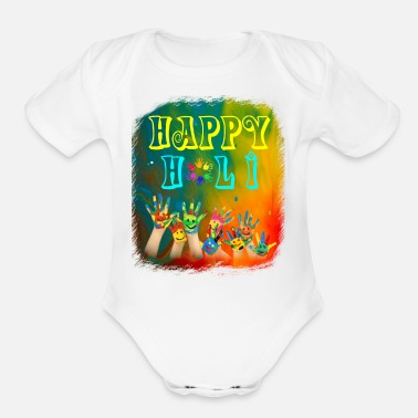 Holi Joyful Celebrations Happy Holi Tshirt - Organic Short Sleeve Baby Bodysuit