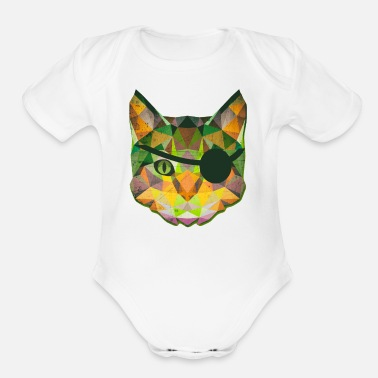 Evil Low Poly Evil Pirate Tabby Cat - Organic Short-Sleeved Baby Bodysuit