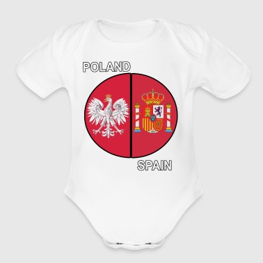 Poland and Spain Mixed Heritage Pie Chart - Organic Short Sleeve Baby Bodysuit
