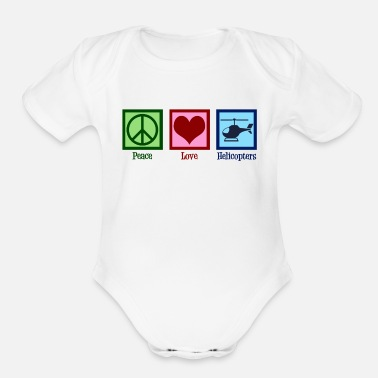 Cute Helicopter Peace Love Helicopters - Organic Short-Sleeved Baby Bodysuit