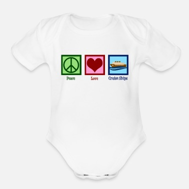 Peace Love Cruise Peace Love Cruise Ships - Organic Short-Sleeved Baby Bodysuit