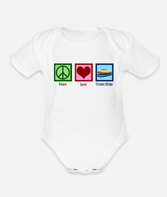 Cruise Baby One Pieces - Peace Love Cruise Ships - Organic Short-Sleeved Baby Bodysuit white
