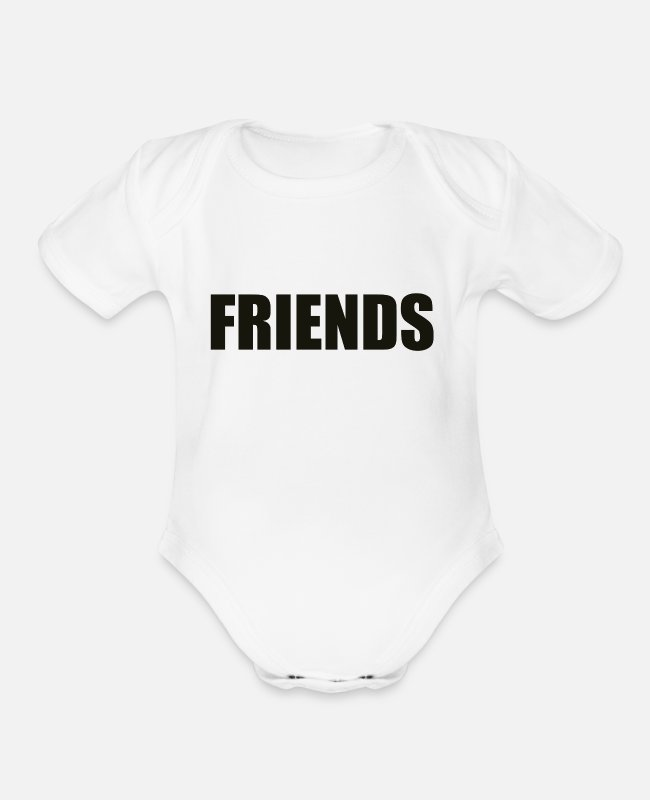 Friendship Baby One Pieces - Friends - Organic Short-Sleeved Baby Bodysuit white
