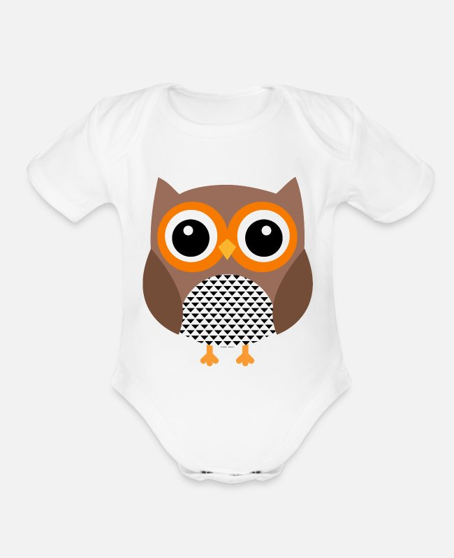 Shoplifter Baby One Pieces - Owl - Organic Short-Sleeved Baby Bodysuit white