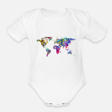 World Map World map - Organic Short-Sleeved Baby Bodysuit