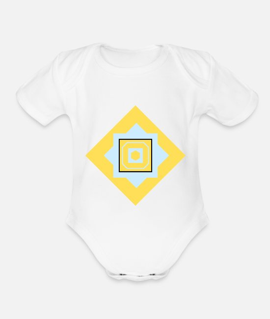 Artist Baby One Pieces - Squares Quadrats - Organic Short-Sleeved Baby Bodysuit white