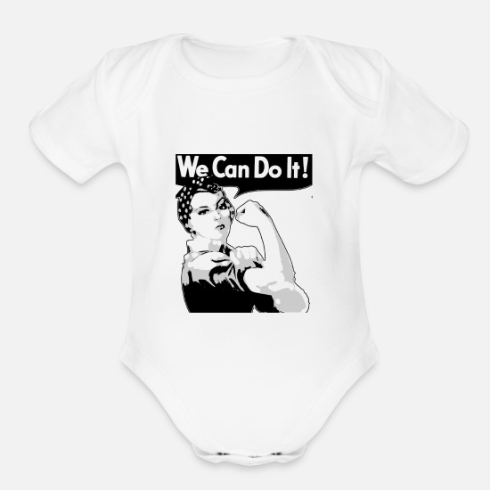 Gift Idea Baby Clothing - GirlPower 5 woman contest woman's rights - Organic Short-Sleeved Baby Bodysuit white