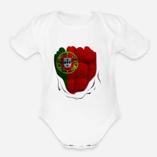 c71612b5b758 Funny Portugal Flag Ripped Abs Muscles Organic Short-Sleeved Baby ...