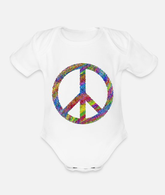 Government Baby One Pieces - Peace - Organic Short-Sleeved Baby Bodysuit white