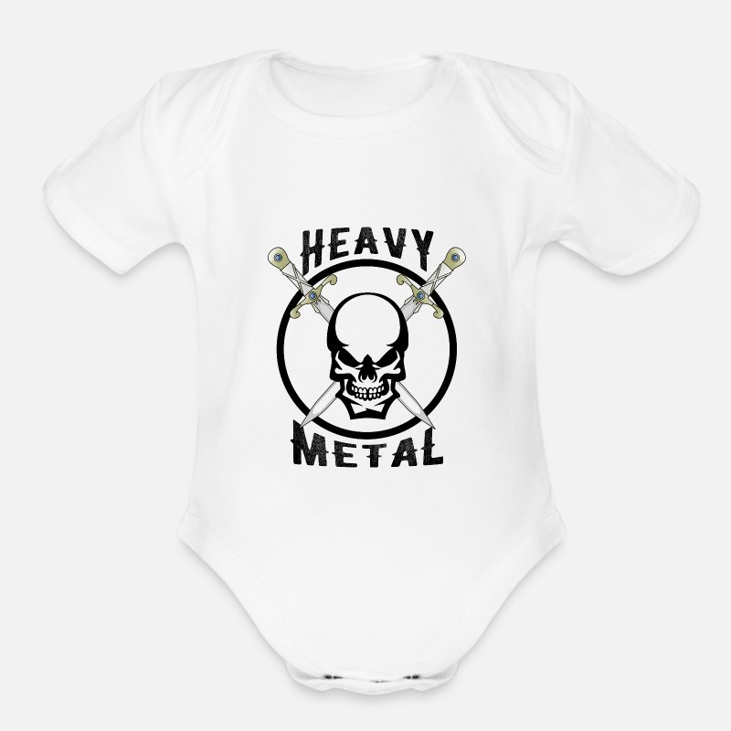 Heavy Baby Clothing - Heavy, Metal, Skull, Death, Sword, Hard, Rock - Organic Short-Sleeved Baby Bodysuit white