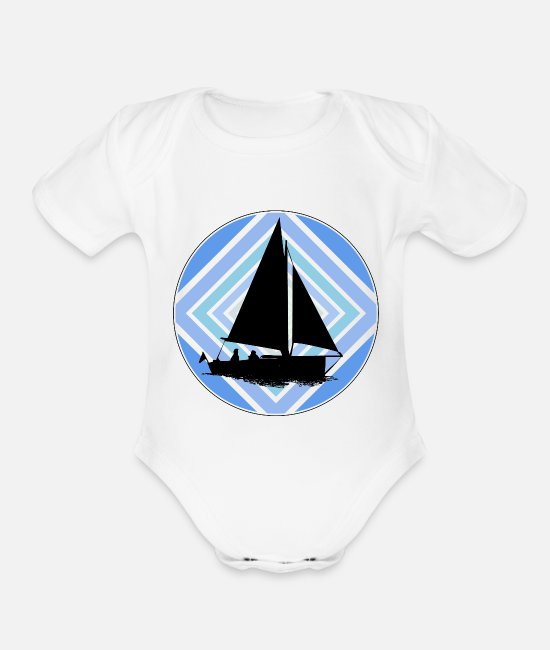 Sail Boat Baby One Pieces - sailor captain new design - Organic Short-Sleeved Baby Bodysuit white