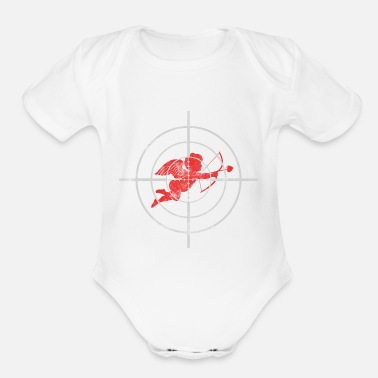 Target Cupid Arrow Target me Valentine's Day gift - Organic Short Sleeve Baby Bodysuit