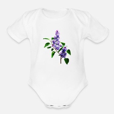 Lilac Spray of Lilacs - Organic Short Sleeve Baby Bodysuit
