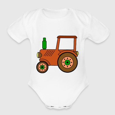 Toy brown toy tractor / toy tractor - Organic Short Sleeve Baby Bodysuit