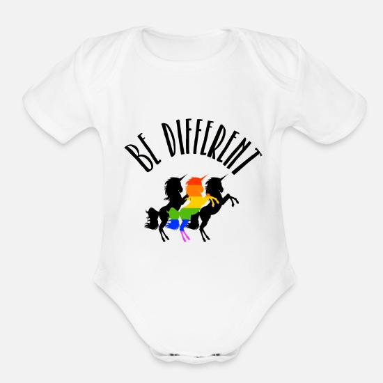 Queer Baby Clothing - Be Different LGBT Gay Pride Unicorn Rainbow - Organic Short-Sleeved Baby Bodysuit white