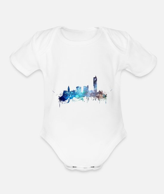Watercolor Art Baby One Pieces - Manchester skyline - Organic Short-Sleeved Baby Bodysuit white