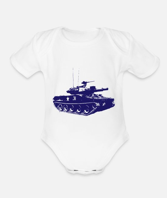 Army Baby One Pieces - Tank - Military - Army - War - Troops - Soldiers - Organic Short-Sleeved Baby Bodysuit white
