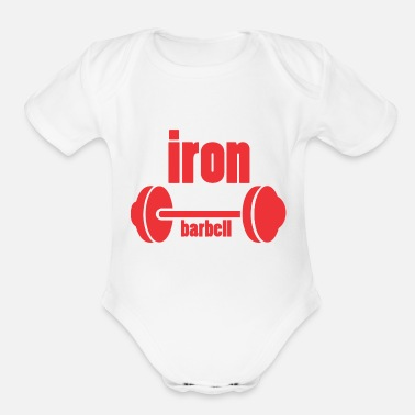 Iron-for-ironing iron barbell - Organic Short-Sleeved Baby Bodysuit