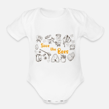 Saving Save the bees - Save the bees save the world - Organic Short-Sleeved Baby Bodysuit