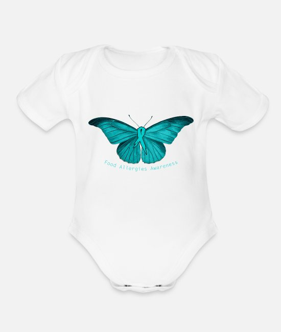 Allergy Baby One Pieces - Food Allergy Awareness - Teal Butterfly - - Organic Short-Sleeved Baby Bodysuit white