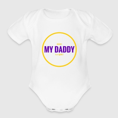Roo Daddy Que   Gold - Organic Short Sleeve Baby Bodysuit