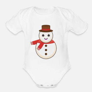 Snowman Winter - Organic Short-Sleeved Baby Bodysuit