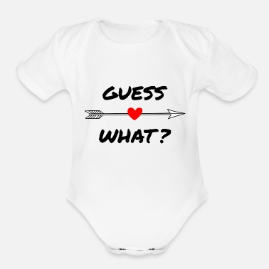 Announcement Guess What - Organic Short-Sleeved Baby Bodysuit