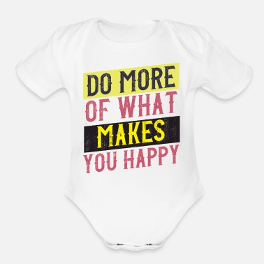 Typo Collection happy vintage style quote - Organic Short-Sleeved Baby Bodysuit