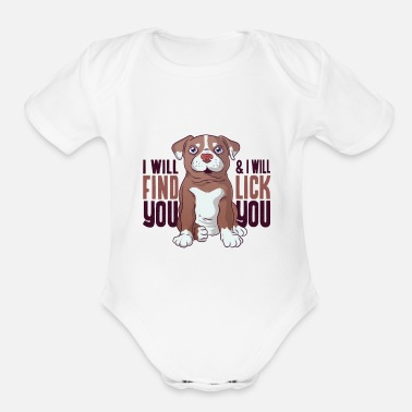 Funny Pitbull puppy tshirt - Organic Short-Sleeved Baby Bodysuit