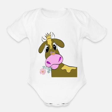 Cow Funny Cow - Organic Short Sleeve Baby Bodysuit