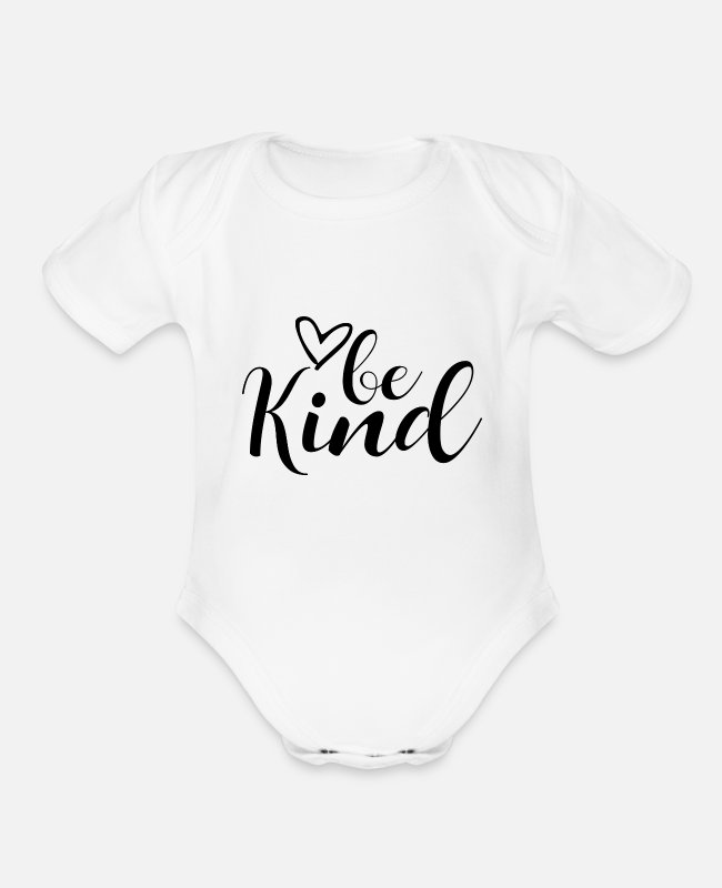 Choose Kind Baby One Pieces - Be Kind - Organic Short-Sleeved Baby Bodysuit white