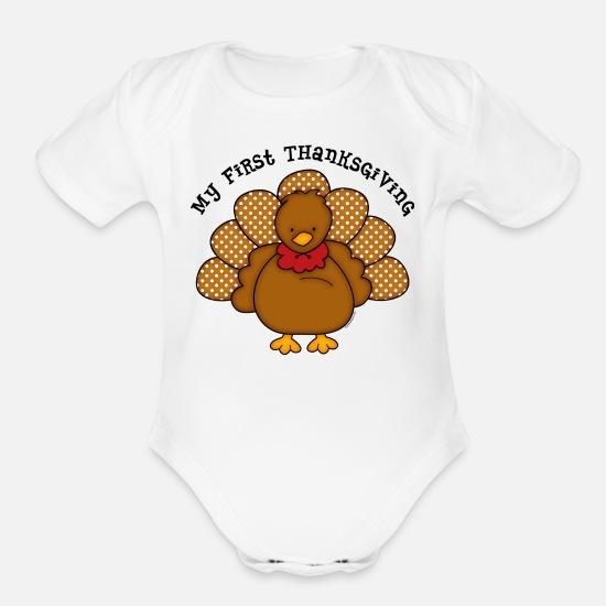 ebd10da8eca7d Baby Turkey 1st Thanksgiving Organic Short-Sleeved Baby Bodysuit ...