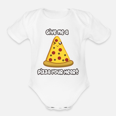 Heart Pizza Heart - Organic Short Sleeve Baby Bodysuit