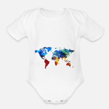 World Colourful World Map - Organic Short-Sleeved Baby Bodysuit