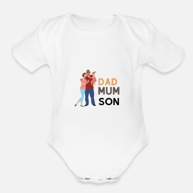 Mum And Son dad, mum, son t-shirt - Organic Short-Sleeved Baby Bodysuit