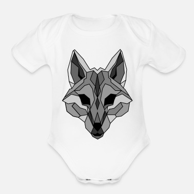 Gray Wolf Lineart of a wolf / wolf gray - Organic Short Sleeve Baby Bodysuit