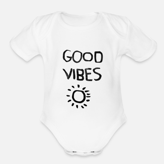 Good Baby Clothing - good vibes - Organic Short-Sleeved Baby Bodysuit white