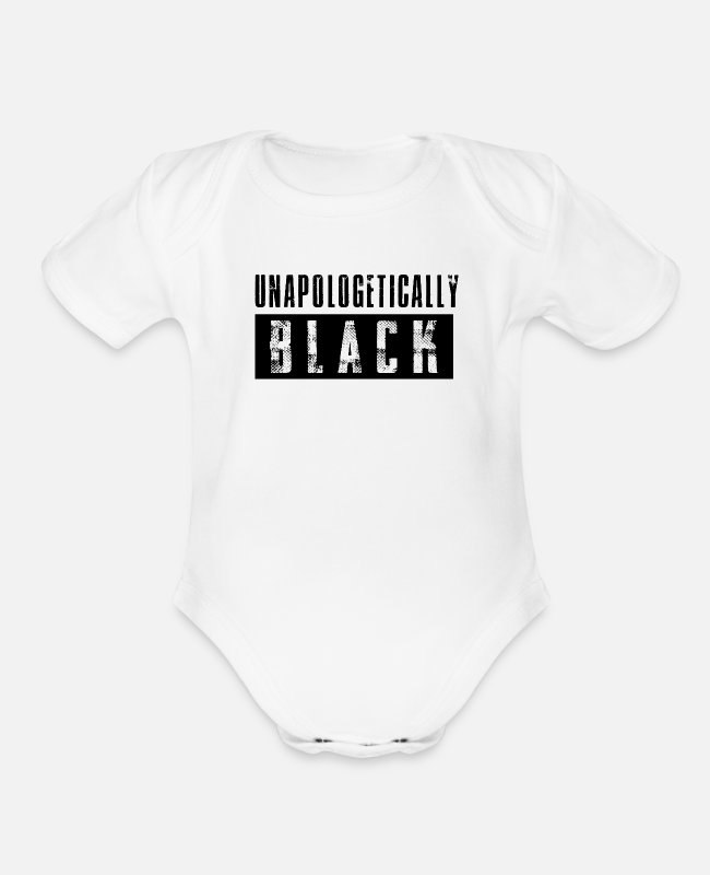 Black Power Baby One Pieces - Unapologetically Black - Organic Short-Sleeved Baby Bodysuit white